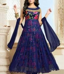 Buy Blue net printed semi stitched salwar with dupatta anarkali-salwar-kameez online