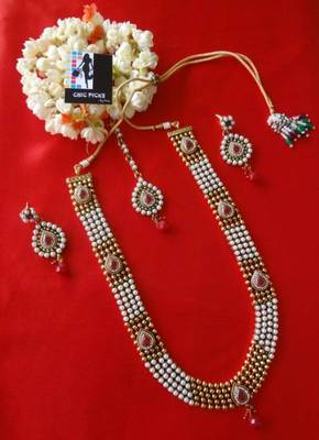 Designer Pearl & Ruby Delight rani haar set - Long