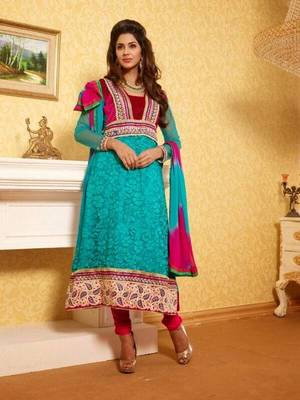 Fantastic Firozi Suit with Dupatta-TBSUPRINC3009