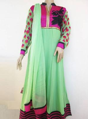 Semistitched georgette anarkali in green and magenta