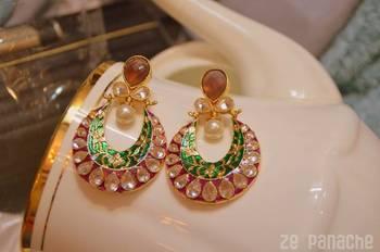 Green Purple Antique Earrings