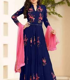 Buy Blue embroidered georgette unstitched salwar with dupatta anarkali-salwar-kameez online