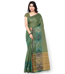 Buy rama green woven cotton silk saree With Blouse kota-silk-saree online