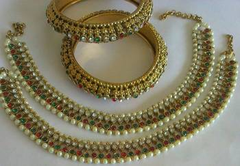 Designer Multi colour Anklets with Multi colour Traditional Bangles