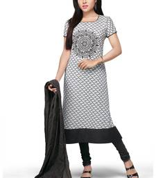 Buy White and grey printed cotton readymade salwar with dupatta readymade-suit online