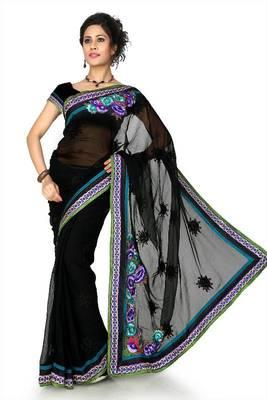 Black chiffon saree with unstitched blouse (dpl1300)