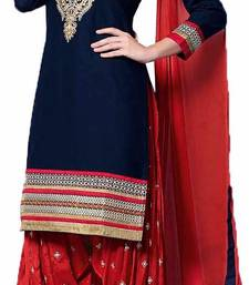 Buy Blue cotton embroidered semi stitched salwar with dupatta punjabi-suit online