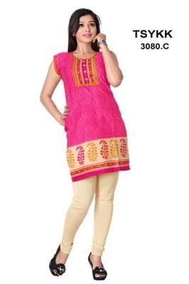Triveni Vibrant colored sleeveless cotton Kurti 3080c
