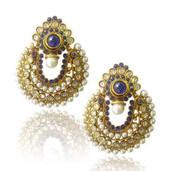 Ethnic Blue Pearl Polki Earrings by ADIVA ABCHI0BCD004