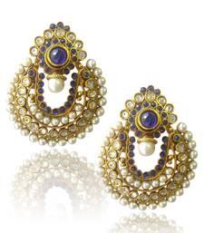 Buy Ethnic Blue Pearl Polki Earrings by ADIVA ABCHI0BCD004 danglers-drop online