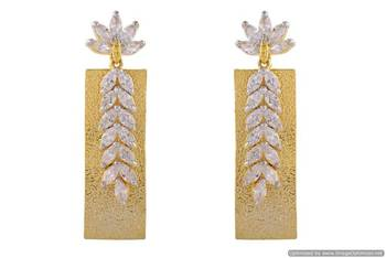 AD STONE STUDDED MATT GOLD FINISH FLOWER THEME HANGINGS/EARRINGS (AD ) - PCFE3259