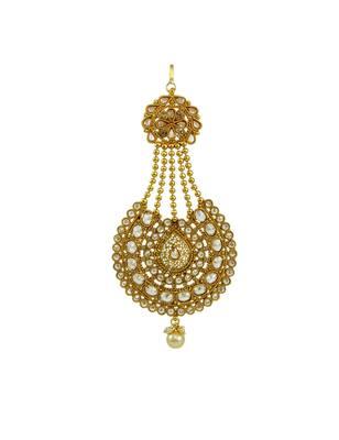 Golden Beige Polki Stones Passa Side Jhoomer Jewellery for Women - Orniza