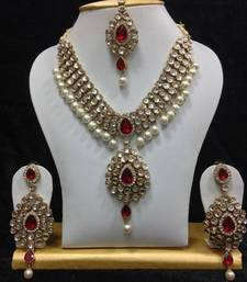 Buy Dazzling kundan set in White and Red Stones and Pearls necklace-set online
