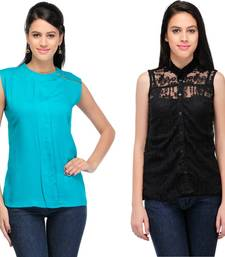 Buy Green and black rayon tops party-top online