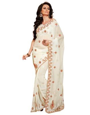 White Colored Chiffon Saree