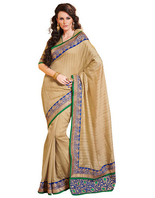 Beige Colored Bhagalpuri Cotton Saree