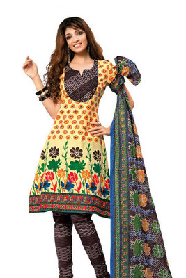 Yellow Cotton Salwar Kameez Showing Beautiful Printed work