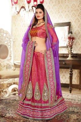 Amazing Pink Colour Net and Brasso Lehenga Choli