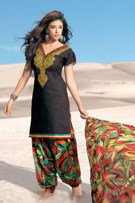 Black Embroidered Salwar Suit With Chiffon Dupatta