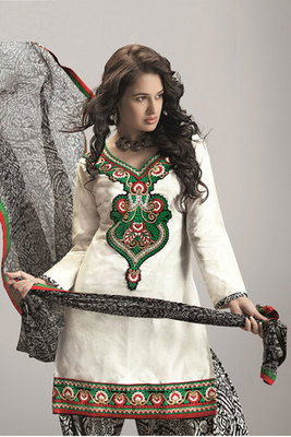 White and Green Cotton Embroidered Salwar Suit