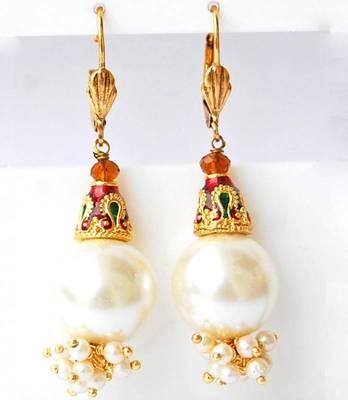White Bollywood Ethnic Wedding Festival Dangler Earrings
