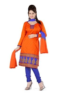 Fabdeal Orange Colored Banarasi Silk Un-Stitched Salwar Kameez