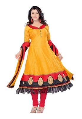 Fabdeal Orange Colored Chanderi Silk Semi-Stitched Salwar Kameez