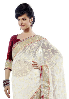 Fabdeal White Colored Net Embroidered Saree