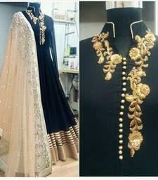 Buy Black bhagalpuri silk semi stitched salwar with dupatta dress-material online