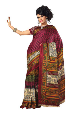 Fabdeal Magenta Colored Bhagalpuri Silk Printed Saree