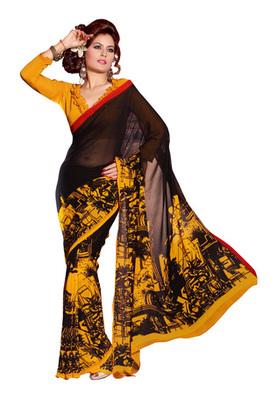 Fabdeal Black Colored Faux Georgette Printed Saree