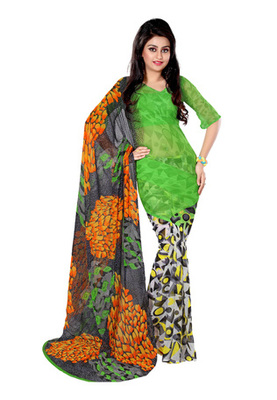 Fabdeal Green  Colored Georgette Bemberg Printed Saree