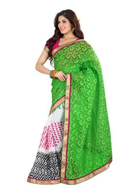 Fabdeal Green Colored Cotton Brasso Printed Saree