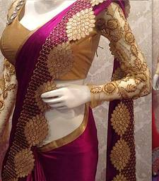 Buy dark pink embroidered nylon saree With Blouse black-friday-deal-sale online