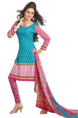 Triveni Pleasing Synthetic Cotton Blue Colored Indian Ethnic Salwar Kameez