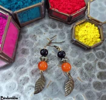Orange_Black_Leaf_Latkan_Earrings