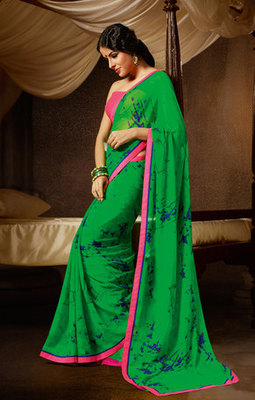 Hypnotex Georgette Green Saree Lamis 729