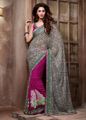 Hypnotex Chiffon+Georgette Black+Pink Saree Frenzy 8302
