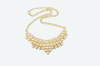 White Collar Womaniya Pearl Statement Necklace
