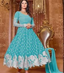 Buy Sky blue georgette embrodery designer semi-stitched salwar suit with dupatta (premium quality) party-wear-salwar-kameez online