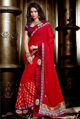 Maroon Georgette Saree Titivated by Zari and Resham Embroidery Work