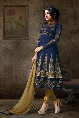 Royal Blue Colour Embroidery Work Salwar Kameez