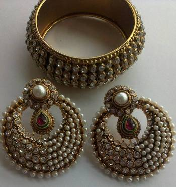 Designer Fancy Earings with Traditional Stone kadas