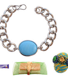 Buy Foppish Mart Magnetic Braided & Stone Studded Red Blue Bracelet Rakhi For Brother bracelet-rakhi online