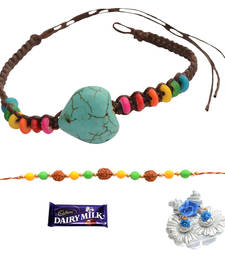 Buy Colour Blast  & Rudraksha Bracelet Rakhi Set For Bhaiya Bhabhi bracelet-rakhi online