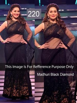 Indian Replica Ethnic Madhuri Black Net Saree