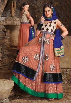 Orange designer embrodred semi stitched anarkali suit