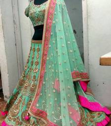 Buy Green Benglory Silk Unstitched Lehenga Choli lehenga-choli online
