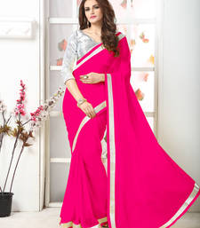 Buy Pink  Embroidery chiffon saree with blouse chiffon-saree online