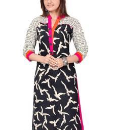 Buy Fashionlife Black printed cotton semi stitched Free Size kurti kurtas-and-kurtis online